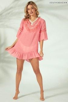 South Beach Crochet Low Back Tassel Dress