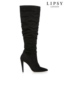 Lipsy Cone Heel Ruched Long Boot
