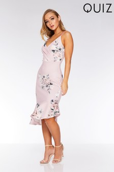 Quiz Floral Wrap Asymmetrical Hem Midi Dress