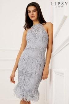 Lipsy VIP Lace Feather Hem Dress