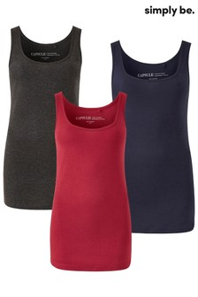 Simply Be Curve Vest Pack of 3