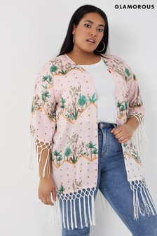 Glamorous Curve Floral Print Kimono