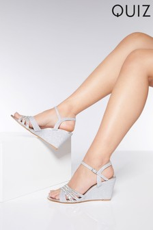 Quiz Diamanté Mid Heel Wedges
