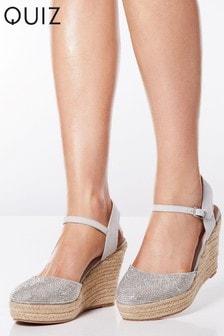 Quiz Diamanté Espadrille Wedge Sandals