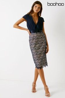 Boohoo 2-In-1 Cap Sleeve Lace Skirt Pencil Dress