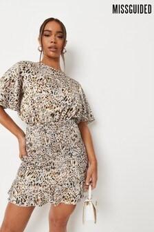 Missguided Shirred Flutter Sleeve Mini Dress