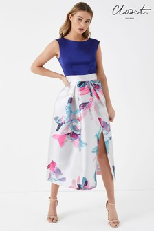 Closet 2-in-1 Floral Wrap Skater Dress