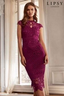 Lipsy VIP Premium Scallop Lace Midi Dress