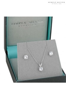 Simply Silver Round Cubic Zirconia Necklace & Earring Set In A Gift Box