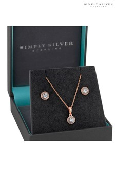 Simply Silver 14 Carat Rose Gold Plated Sterling Silver Round Halo Jewellery Set In A Gift Box