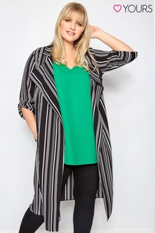 Yours Curve Striped Duster Jacket