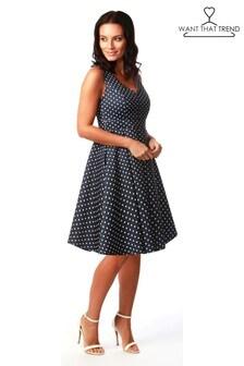 Want That Trend Polka Dot Sweetheart Skater Dress