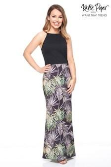 Want That Trend Contrast Cold Shoulder Maxi Dress