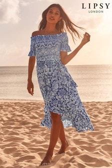 Lipsy Boho Printed Shirred Maxi Dress