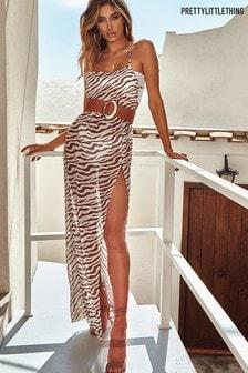 PrettyLittleThing Zebra Belted Split Beach Maxi Dress