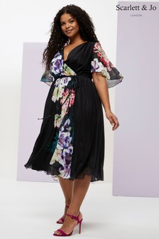 Scarlett & Jo Tropical Border Print Dress