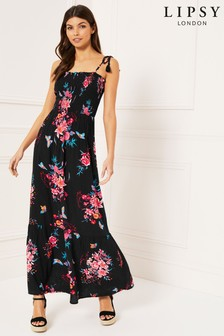 Lipsy Floral Print Maxi Beach Dress