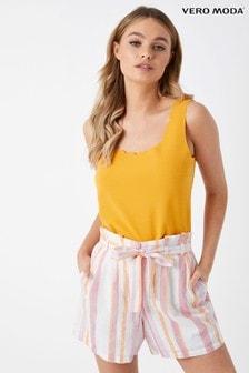 Vero Moda High Waist Striped Linen Shorts
