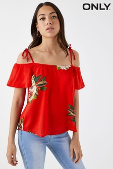 Only Bardot Top With Tie Strap Detail