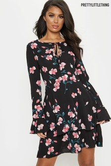 PrettyLittleThing Dark Floral Skater Dress