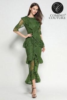 Comino Couture Emerald Lace Ruffle Dress