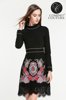 Comino Couture High Neck Embroidered Dress