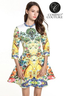 Comino Couture Floral Shower Skater Dress