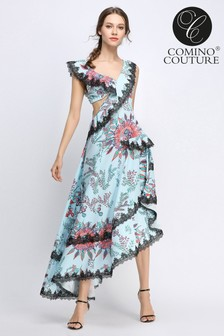 Comino Couture Floral off The Shoulder Lace Cascade Dress