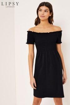 Lipsy Shirred Bardot Dress