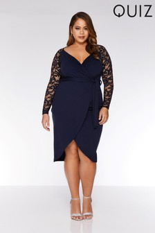 Quiz Curve Lace Wrap Front Dress