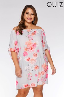 Quiz Curve Floral Bardot Tie Sleeve Tunic Dress