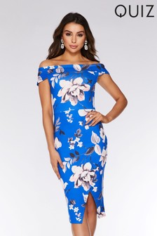 Quiz Floral Bardot Midi Dress