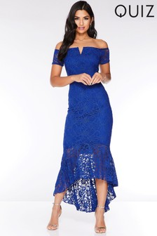 Quiz Lace Dip Hem Maxi Dress