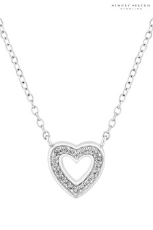 Simply Silver Sterling Open Heart Pendant Gift Box