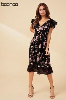 Boohoo Mixed Print Floral Wrap Dress