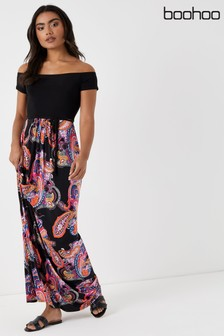 Boohoo Paisley Print 2 in 1 Bardot Maxi Dress