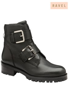Ravel Buckle Leather Ankle Boot