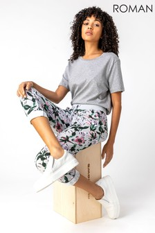Roman Floral Print Roll Hem Cropped Pants