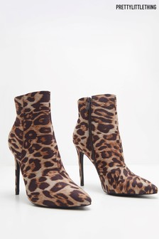 PrettyLittleThing Leopard Print Heeled Ankle Boots