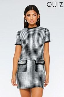 Quiz Check Short Sleeve Tunic Dress