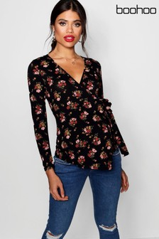 Boohoo Maternity Floral Wrap Top