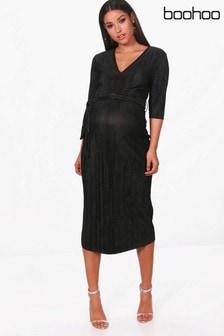 Boohoo Maternity Pleated Midi Dress