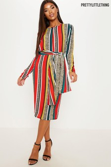 PrettyLittleThing Wrap Over Midi Dress