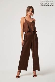 Girls On Film Strappy Satin Wide Leg Jumpsuit
