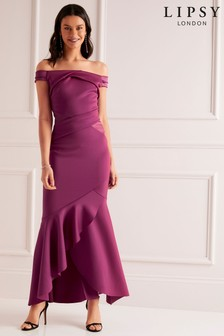 Lipsy Petite Bardot Satin Panel Dress