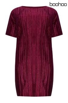 Boohoo Curve Plisse Velvet Shift Dress