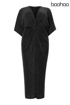 Boohoo Curve Knot Front Lurex Midi Dress