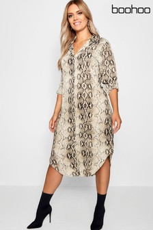 Boohoo Curve Snake Print Shirt Dress