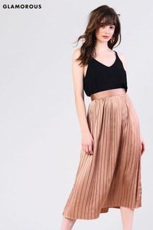 Glamorous Satin Pleated Midi Skirt
