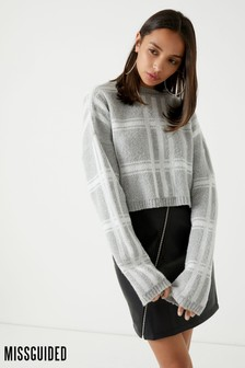 Missguided Check Print Crop Jumper